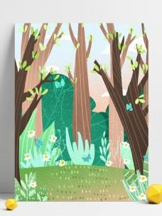 手绘春季树林花朵背景