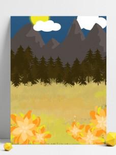 远山和山下的树木背景