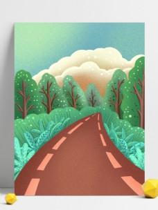 春季树林跑道背景设计