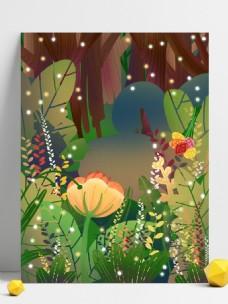 彩绘花丛背景设计