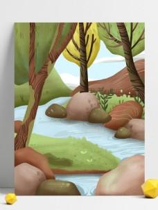 清新春季小河树林背景设计