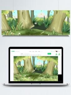 手绘小清新春季树林背景设计