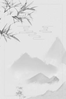 远山中国风简约水墨灰色背景