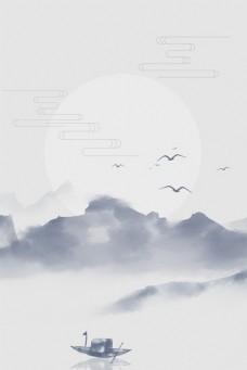 古风中国风灰色简约湖面泛舟背景