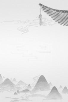 简约中国风灰色古风远山背景海报