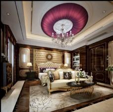 欧式奢华卧室效果图3D模型