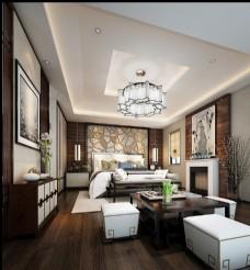 现代新中式卧室效果图3D模型
