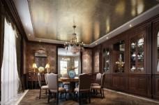 美式古典餐厅效果图3D模型