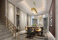 欧式餐厅效果图3D模型