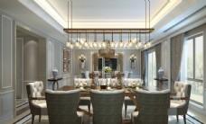 欧式轻奢餐厅效果图3D模型
