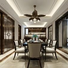 中式餐厅效果图3D模型