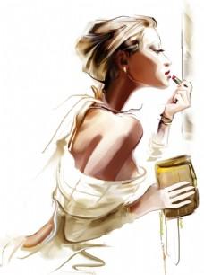 手绘化妆的女人插画