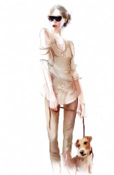 手绘牵狗的女人