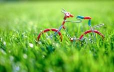 春天绿色草地里的自行车模型