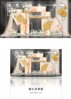 水彩纹拱门网格纱幔金色铁艺线圈婚礼效果图