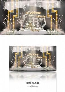造型灯柱垂吊纱幔双层舞台流线婚礼效果图