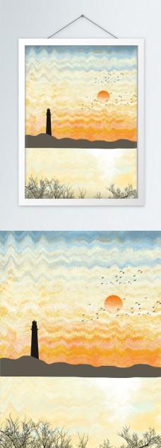 欧式抽象手绘水彩灯塔海岸客厅装饰画