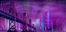 城市桥梁夜景插画