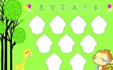 小孩满月喜榜  卡通 猴子