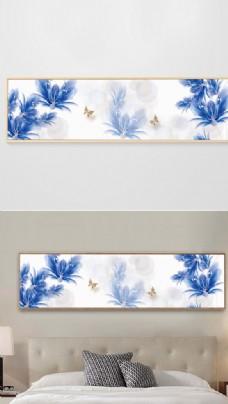 现代简约抽象手绘花卉床头装饰画