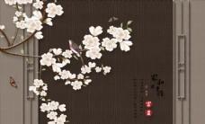 中式玉兰花壁画背景墙