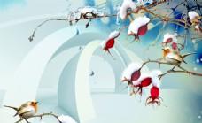 花鸟雪景立体电视背景墙