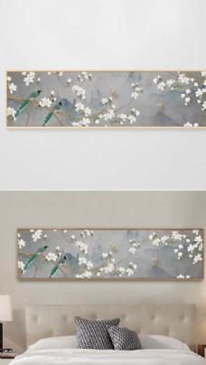 新中式手绘工笔花鸟床头装饰画