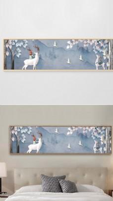 现代简约手绘抽象花卉床头装饰画