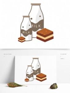 清新手绘牛奶蛋糕装饰元素