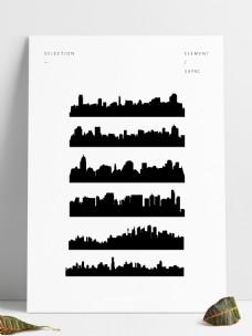 黑色城市剪影图片元素