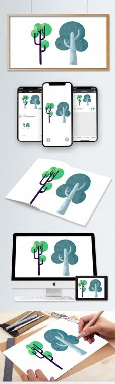 原创插画卡通矢量素材树
