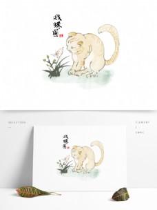 中国画写意猫戏蝴蝶水墨素材