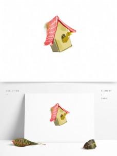 创意卡通鸟儿房屋元素设计