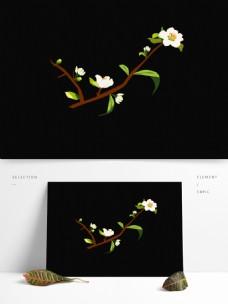 春天元素梨花白色花朵花枝手绘简约风1