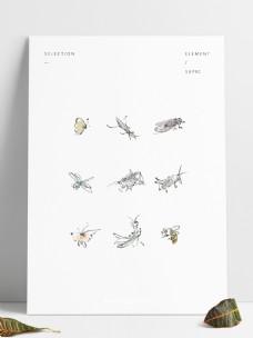 中国画古风写意昆虫虫子套图