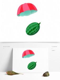 卡通绿色西瓜水果PNG素材