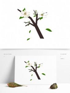 梨花白色花朵花枝花卉手绘简约风10