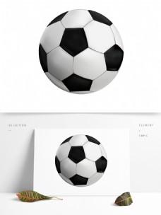 唯美手绘黑白足球png元素