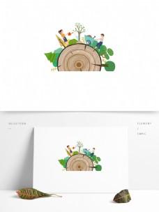 手绘卡通植树绿叶元素设计