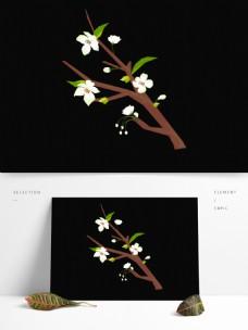 春天元素梨花白色花朵花枝手绘简约风2