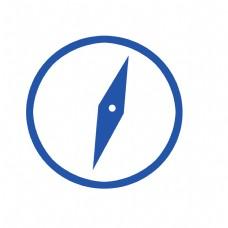 蓝色圆形扁平化指南针元素