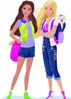 卡通时尚女孩矢量
