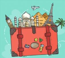 彩绘旅行箱里的旅游景点