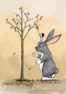丙烯手绘可爱的兔子