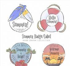 4款手绘风格夏季标签和徽章