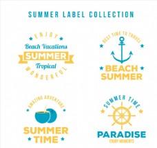橙色夏季度假标签