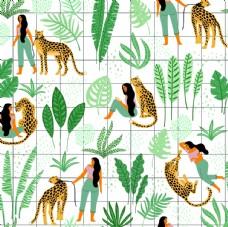 女人和老虎平铺图案