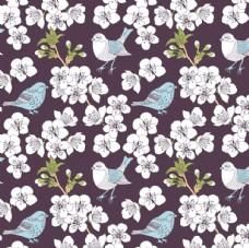 素雅小鸟花卉平铺图