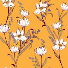 花朵橘色底油画风平铺图案