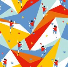 几何色彩攀岩平铺图案